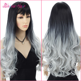 peruca ombre dois tom cinza Desconto Dois Tons Ombre Curly Ondulado Perucas Heat Resistat Raiz Escura para Branco 1B / Cinza Full Head Wigs (1b / Grey)