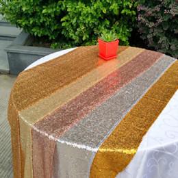 2019 vente de mariage en nappe 100 * 150 cm Rectangle Sequin Tissu Sequin Nappe 4 Couleur Sequin Table Chiffons brillant pour la Fête de Mariage Événement Table Décorations