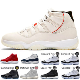 Дизайнер обувь пром онлайн-11 11s XI Platinum Tint Men Basketball Shoes Cap and Gown Prom Night Gym Red Bred Barons Concord 45 Cool Grey mens sports sneakers designer