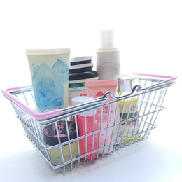 Wholesale Round Storage Baskets - Mini Supermarket Shopping Basket Cart Kids Toy Desktop Cosmetic Sundries Organizer Iron Storage Box Bins 3 Size WX9-481