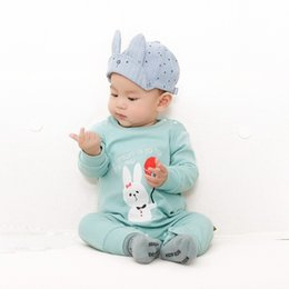 Wholesale Yellow Clothes For Baby Boy - New Fashion Infant kids Rompers balloon Rabbit Cute Romoer For baby Girls Boys Toddler Clothing One-piece high quality Cotton Rompers A8352