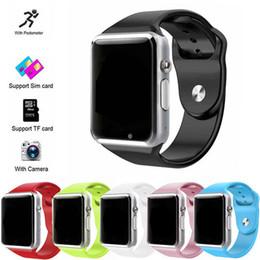 support intelligent compatible apple ios Promotion A1 Bluetooth Smart Watch prend en charge la fente pour carte SIM Health Watchs pour Android Samsung et IOS iphone Smartphone Bracelet Smartwatch