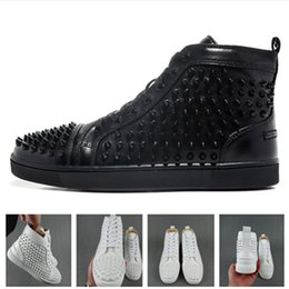 Wholesale Spike Shoes For Women - Best Studded Spikes red bottom sneakers Luxury Leather Flats Rhinestones shoes For Men & Women Party Designer Sneakers Lovers casual shoes