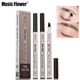 Bırak Müzik Çiçek Sıvı Kaş Kalemi Makyaj Artırıcı Çift Kafa kaş kalemi Su Geçirmez 3 Renkler kestane kahverengi koyu gri 1 ADET stokta nereden müzik çiçek kaşığı tedarikçiler