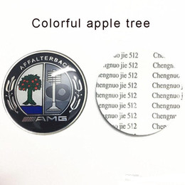 Árvore da etiqueta do carro on-line-52mm carro volante emblema da árvore de maçã para mercedes amg barbus lorinser carlsson adesivos em liga de alumínio emblema