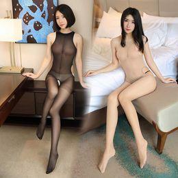 2019 todo el cuerpo apretado sexy Sexy Crotchless Lingerie Bodystocking Medias ultrafinas transparentes Stocking Manga larga Mujer abierta Pantimedias de cuerpo completo todo el cuerpo apretado sexy baratos