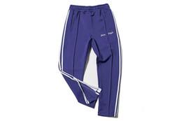 Wholesale Track Bottom Men - Palm Angels Track Pant Men Women Fashion Stripes Casual Pants Black Blue Ankle-Zip Pants Hip Hop Bottoms Jogger Pant