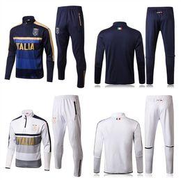 Wholesale men italian pants - 2018 Survetement football tracksuit italia VERRATTI training suit kits Soccer Chandal italian training shinny tight pants sweater shirt