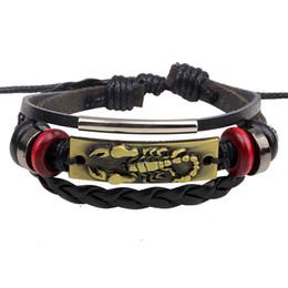 2019 silber skorpion armband Leder, Skorpion, Armband, geflochtenes Lederarmband aus Leder und Leder im europäischen und amerikanischen Punk-Stil günstig silber skorpion armband