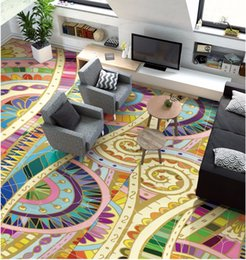 Wholesale Floor Paint Wood - Free Shipping high quality Morocco abstract pattern hand-painted ceiling floor wallpaper living room show hall wear floor mural
