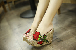 Wholesale black high platforms sandals - summer women sandals new thick-bottomed slope with round head designer sandals 2018 embroidery flower high heel sandals casual shoes 0
