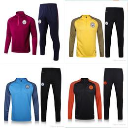 Wholesale Pant Sets - Top Quality 2017 MAN Citys Soccer training suit sweatshirt and pants survetement 2017 MAN Citys Sweater Tracksuit Set Soccer Training Suit