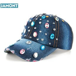 High quality Wholesale Retail Hat Cap Fashion Leisure Rhinestones Vintage  Jean Cotton Dots denim CAPS Baseball Cap B225 c1406aab021d
