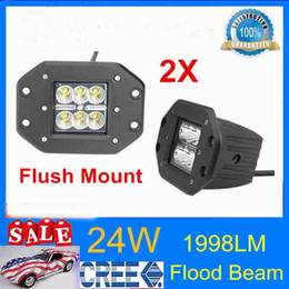 Wholesale Beam Works - 2pcs lot 3INCH 24W Cube Pods Spot Flood CREE LED Work Light With Wing Bumper Off-road Fog Square drop shiping
