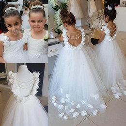 Wholesale Pearl Pink Flower Girl Dresses - Lovely White Flower Girls Dresses For Weddings Scoop Ruffles Lace Tulle Pearls Backless Princess Children Wedding Birthday Party Dresses