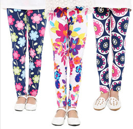 Wholesale Wholesale Childrens Tights Leggings - Baby Kids Childrens printing Flower Toddler Classic Leggings girls pants Girls legging 2-14Ybaby girl leggings free shipping