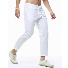 Wholesale linen drawstring pants - Wholesale-Summer Men's Linen Capri Pants Lightweight Slim Legs Casual Pants PT-136