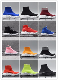 Wholesale Kids Rubber Socks - New Knit Speed Mid High Infant Sneaker Kids Running shoes Children sports shoes girls and boys shoes Knitted Socks Trainer