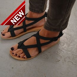 Wholesale Button Codes - Bursting Character Trailer Flat Bottom Crossing Bandage Rome women 39 s Sandals Woman Foreign Trade 36 Reach 43 Code Goods Stock Wholesale
