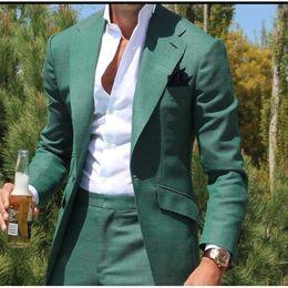 Vestito di affari verde di mens online-New Green 3 Pezzi Mens Abiti One Button Abiti da sposa per uomo Smoking da sposo Business Formal Suit 3 pezzi (Giacca + Pantaloni + cravatta)