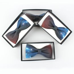 Wholesale galaxy print tie - Hand Made Casual Star Sky Printing Bow Tie Mens Womens Galaxy Flower Printing Bow Tie With Gift Box