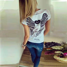 Wholesale White Lager - 2017 New spring summer T-shirts women unique angel wings back printing short sleeve loose tshirt ladies lager size t shirt women