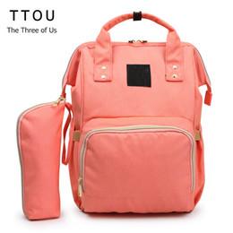 2019 mochilas mamá TTOU momia bolsa de pañales de maternidad mamá mochila 2 unids / set de gran capacidad bebé bolsa de diseño de enfermería para el cuidado del bebé rebajas mochilas mamá