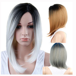 Wholesale Womens Bobs - Ombre HIGH HEAT RESISTANT Short CURLY LADIES WOMENS WIGS WIG OFF BLACK BOB synthetic WIG FOR BLACK WOMEN