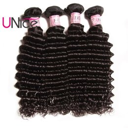 Wholesale cheap 28 inch weave - UNice Hair Indian Deep Wave 4 Bundles Remy Brazilian Hair Extensions Unprocessed 100% Human Hair Products Wholesale Cheap Deep Weave Bundles
