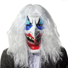 Wholesale Ghost Dresses - Scary Latex Full Face Cosplay Clown Long Hair Mask Horror Masquerade Adult Ghost Mask Halloween Costumes Fancy Dress Party Props