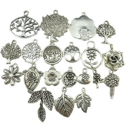 Wholesale vintage jewelry christmas tree - Mix Vintage Silver Tone Tree Plant Tree of Life Pendant Dangle Charm Jewelry Wholesale