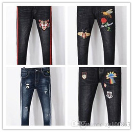 Wholesale Jeans Punk Slim - 2018 men denim jeans embroidery tiger fashion desginer Ripped Skinny Jeans US Hip Hop Punk Pants
