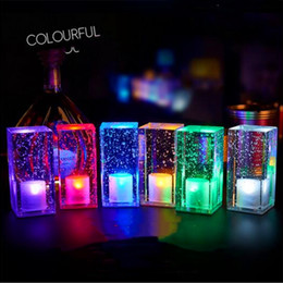Wholesale Candle Light Restaurant - Led charging bar lamp Creative restaurant cafe mobile candle waterproof bar table light on sale mini cuboid crystal colorful indoor lighting