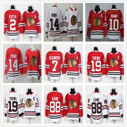 2018 AD Chicago Blackhawks # 7 Brent Seabrook Jerseys Top Qualität rot weiß  # 14 Richard Panik Jersey genäht 10 Patrick Sharp Hockey Trikots