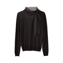 Suéter de invierno de corea online-Dabuwawa otoño invierno arco suéter mujeres nueva manga larga negro jersey de punto Top Office dama Buttterfly collar suéter coreano