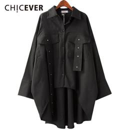Wholesale Korean Black Long Blouse - CHICEVER Spring Asymmetry Women Shirt Blouses Top Long Sleeve Loose Big Size 2018 Shirts Clothes Fashion Korean