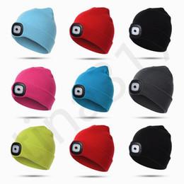 американские лампы Скидка Европейские и американские горячие продажи вязаная детская шляпа с огнями светодиодные лампы шляпы люминесцентные светодиодные трикотажные шапки фары шапки T7c068
