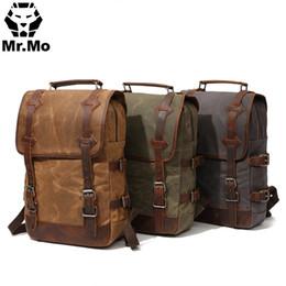 Wholesale waterproof canvas rucksack - Waterproof Waxed Canvas Geniune Leather Bags Men Backpack Vintage Big Travel Bag Designers Rucksack Laptop Back pack BookBags