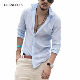 Wholesale Hawaiian Style - Plus Size Cotton Linen Men Shirt Long Sleeve Summer Style Hawaiian Shirts Fit Men Clothes New YC011