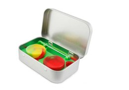 Wholesale Silicone Base - 4 in 1 Metal Tin Silicone Storage Kit Set with 2pcs 5ml Silicon Wax Container Oil Jar Base Silver Dab Dabber Tool Case