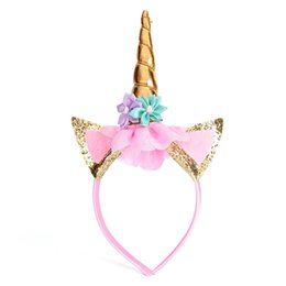 Wholesale children pirate party - DIY Party Hats Baby Headband Hair Decorative Gold Silver Unicorn Horn Hair Hoop Chiffon Flowers Glitter Ears Children