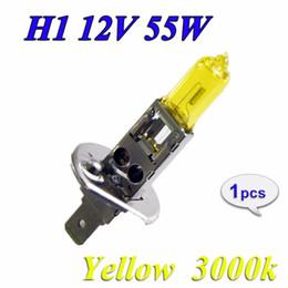 Wholesale Yellow Headlights - 2XH1 Halogen Bulb 12V 55W Yellow 3000K 1700Lm Quartz Glass Car HeadLight Auto Light XENON Fog Lamp
