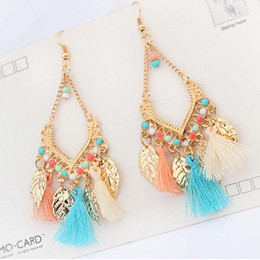 Wholesale feather drops - Tassel chandelier earrings jewelry fashion women bohemia colorful feathers gold plated chains tassels long dangle earings drop ship 170752