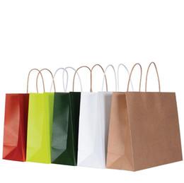 papier de velours en gros Promotion 10 couleurs papier sac cadeau sac en papier kraft brun avec poignées sacs à provisions en papier en gros ELB152
