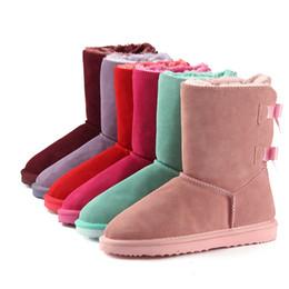 2018 venta caliente de Las Mujeres Botas de Nieve Australia Vaca Suede Leather Winter Warm Brand bailey bow A Prueba de agua Plus diseñador botas de lujo Tamaño US3-14 desde fabricantes