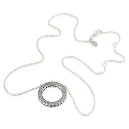 2019 amerikanische goldkette 24k Halsketten Silber Herz passt Pandora-Stil Charms 590514CZ-45 H8