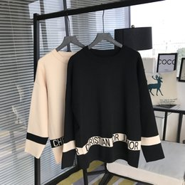 Wholesale Oversized Jumpers - Brand Designer Women Wool Sweaters 2018 Autumn Winter Fashion Letter Jacquard Casual Loose Knitted Pullovers Oversized Jumpers Tops