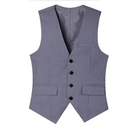 Wholesale Men S Tailored Black Suits - new Ma3 jia3 Light grey men suits waistcoat v-neck black groom wedding tuxedos vest tailor made business work waistcoat