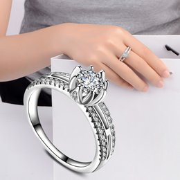 Wholesale fancy cocktails - Fancy Flower CZ Knuckle Silver Rings Modern Style Opening Cocktail Party Rings Wedding Brand Jewelry For Women R279