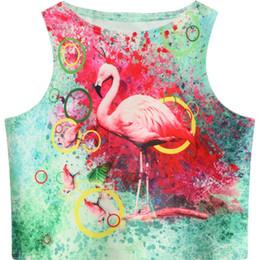 design de colete para mulheres Desconto Mulheres Colheita Tops 2018 Flamingo Verão Pintura Padrão Impresso Slim Fit Tanque Casuais Skinny Vest para Meninas Projeto Curto Cami Verde